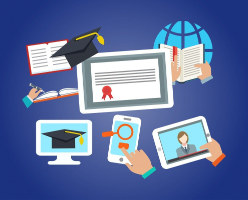 cartoon of distance learning: computer, phone, tablet, globe